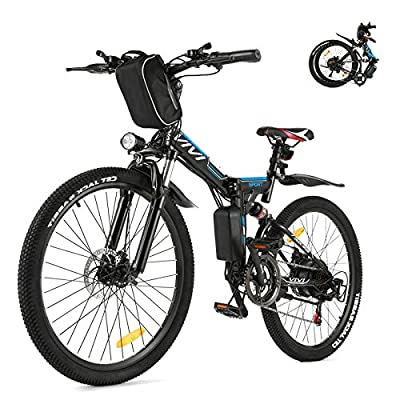 Vivi Folding Electric Bike Electric Mountain Bike for Adults, 350W Ebike 26'' Electric Bicycle with Removable 8Ah Battery, Professional 21 Speed Gears, Double Shock Absorption