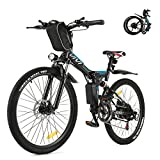 Vivi Folding Electric Bike, Electric Mountain Bike/Electric Bikes for Adults 350W Ebike 26'' Electric Bicycle with Removable 8Ah Battery, Professional 21 Speed Gears, Full Suspension