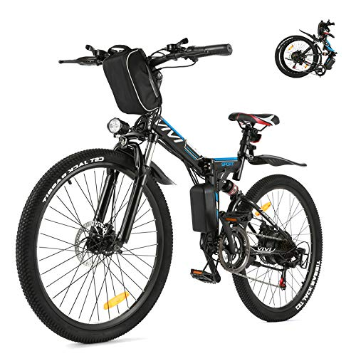 VIVI Folding Electric Bike, Electric Mountain Bike 350W Ebike 26'' Electric Bicycles for Adults with Removable 8Ah Battery, Professional 21 Speed Gears, Full Suspension