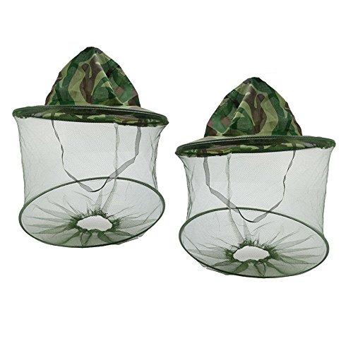 SUNREEK 2 Pack Camuflaje Apicultor Apicultor Anti-Mosquito Insecto de Abeja Insecto Mosca Máscara Cap Sombrero con Cabezal de Malla de Red Protección Facial Equipo de Pesca al Aire Libre