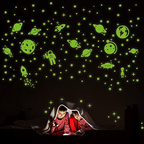 260 PCS Glow in The Dark Stars, Glowing Stars for Ceiling, Star Wall Decals Solar System Space...