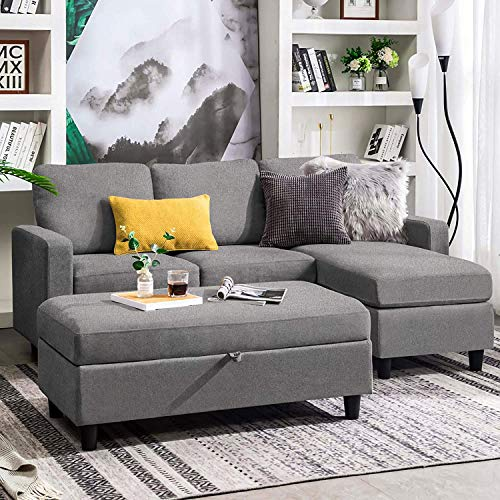 Belffin Reversible 3 Seater Sofa Couch with Ottoman Modern Fabric Couch L Shaped Sectional Sofa Set for Living Room Grey