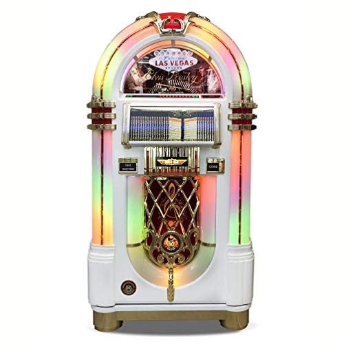 Lowest Price! Rock-Ola | Full Size Bubbler CD Jukebox with Bluetooth (Elvis White Edition)