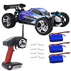 High speed RC Cars, Bonus Extra 2 pack battery, and extra 2 pack usb charger cable. total include 3 battery, 1 charger, and 2 USB charger cable. High Speed up to 50KM/H, 1/18 Scale, 4 Wheel Drive 2.4GHz RC Car vehicle buggy for Adults and Kids over a...