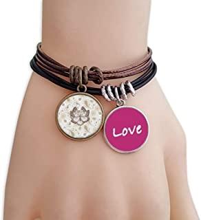 Simple Pale Pink Butterfly with Flowers Love Bracelet Leather Rope Wristband Couple Set