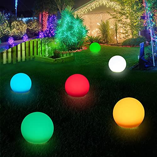 LITAKE Kugelleuchten Aussen, 4 Stücke Ø20cm RGB Erweiterbare Gartenkugel Leuchte mit Fernbedienung und Adaptern IP65 Wasserdicht Gartenleuchte mit Erdspieß Dekor Außenleuchte für Garten Rasen Baum
