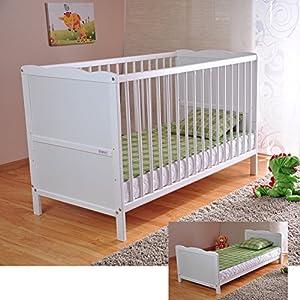 Cuna para bebé con colchón de espuma de aloe vera, rieles con protección dental, altura regulable, color blanco, cama infantil