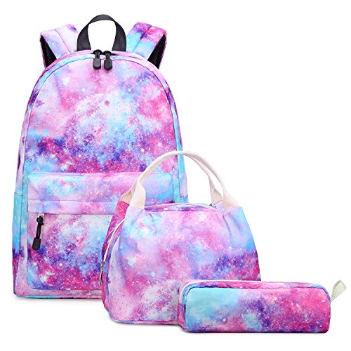 Abshoo Lightweight Water Resistant Galaxy Backpacks for Teen Girls School Backpack with Lunch Bag (Galaxy Pink Set)