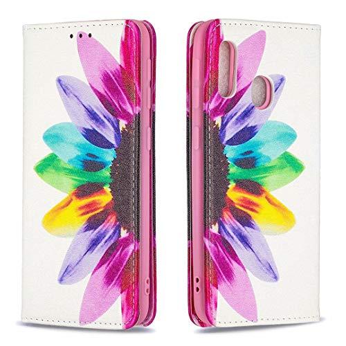 Miagon Brieftasche Hülle für Samsung Galaxy A20e,Kreativ Gemalt Handytasche Case PU Leder Geldbörse mit Kartenfach Wallet Cover Klapphülle,Sonnenblume