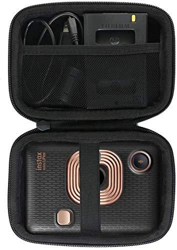 Khanka Hart Tasche Schutzhülle für Fujifilm Instax Mini LiPlay / instax Link hybrid Sofortbildkamera smartphone printer Etui Case.(Schwarz)
