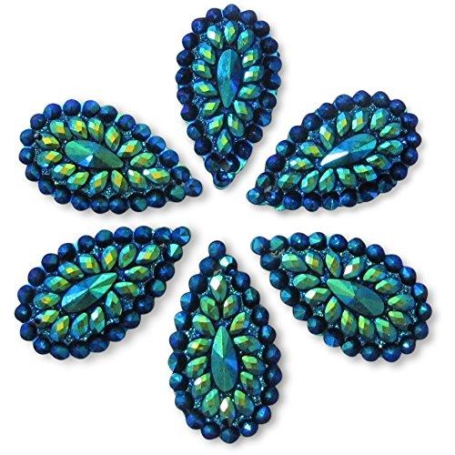 20 Pcs Blue Iridescent Flat Back Teardrop Beads Cabochons Size 20mm X 30mm