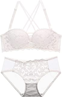 Your only friend Gathered Sexy Bra Set lace Pattern Hollow, Sponge, no Steel Ring, Adjust The Chest Shape, Four Rows of Three Buckles. (Color : White, Size : 80B=34B=75B)