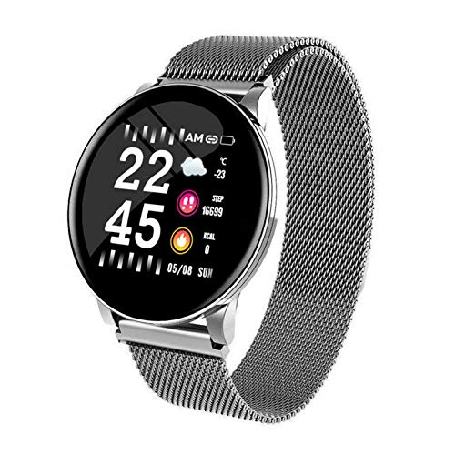 XXY Smart Watch Pulsera Redonda Bluetooths Impermeable Hombre SmartWatch Hombres Mujeres Fitness Tracker Muñeca Banda para Android iOS (Color : Silver Steel)