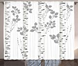 Ambesonne Birch Tree Curtains, White Branches with Leaves Autumn Nature Forest Inspired Image Print, Living Room Bedroom Window Drapes 2 Panel Set, 108' X 63', White Grey
