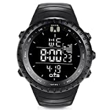 O.T.S Men's Sports Digital Watch Outdoor Waterproof with LED Backlight (Black)