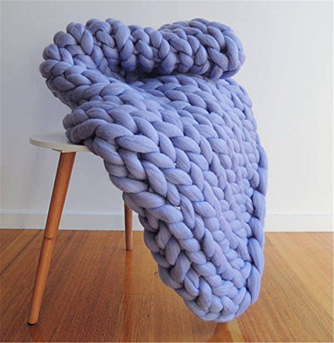 HomeModa Premium Chunky Knit Blanket, Soft Warm Cozy Cowboy Blue Throw Giant Large Knit Throw Blanket (40 x 60 inches- Standard Blanket)