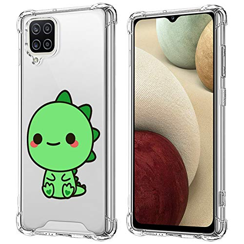 Samsung Galaxy A12 5G Case, Cartoon Dinosaur Pattern Soft TPU Bumper Thin Clear Four-Corner Transparent Airbag for Woman Girls Bumper Protective Cases Compatible with Samsung Galaxy A12 Case 2021