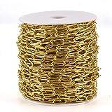 Cheriswelry 25 m cadenas de oro de papel de papel, collar de hierro sin soldar, cadenas de clip de papel estirado plano alargado cadenas de cable enlaces para hacer pulseras de joyería