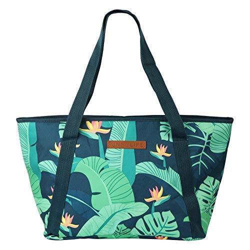 SunnyLife Grote draagbare geïsoleerde strandtas met schoudergrepen en ritssluiting aan de bovenkant, ideaal voor onderweg Monteverde