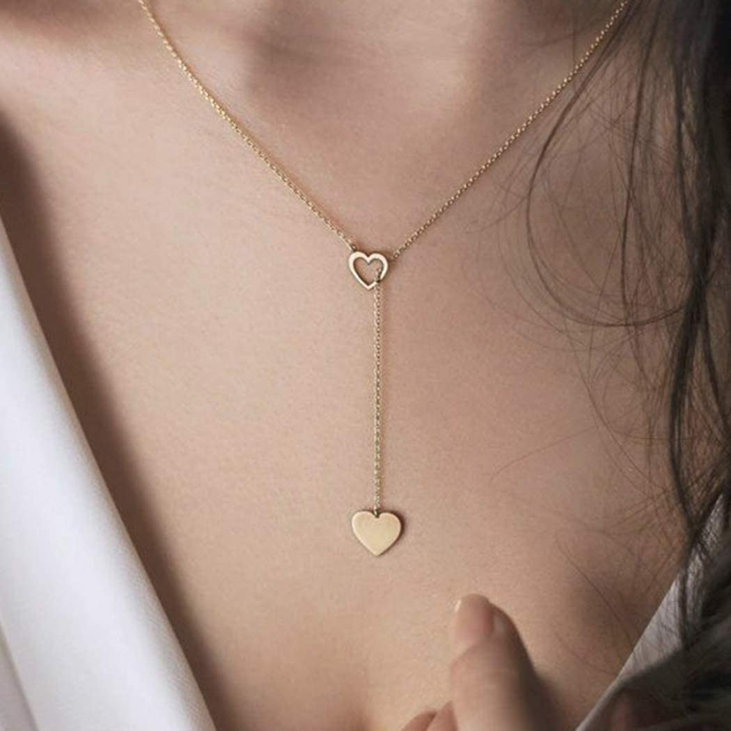 Kakaco Fashion Heart Pendant Necklaces Gold Single Y Necklace Slim Jewelry Chain for Women and Girls