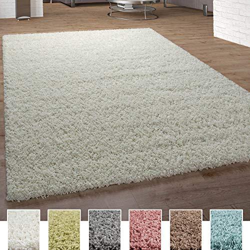 Alfombra Shaggy De Pelo Alto Y Largo Pastel En Distintos Colores, tamaño:160x220 cm, Color:Marfil (Crema)