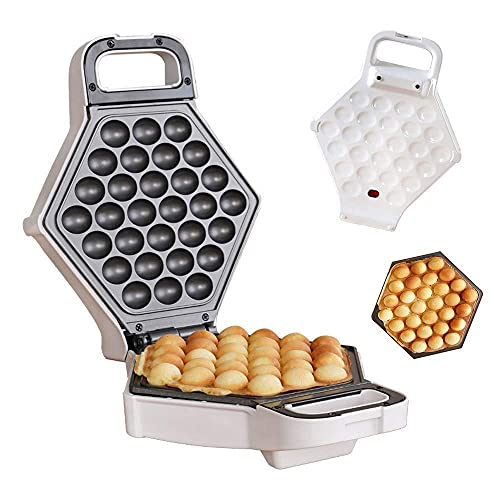 Home Multifunktionswaffeleisen - Hong Kong Style Bubble Egg Waffler Antihaft-Eisengrill - Bereit in weniger als 5 Minuten,Weiß einstellbare Temperatur