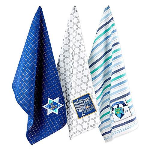 DII Hanukkah Collection Kitchen Tabletop, 18x28, Assorted Dishtowels 3 Piece