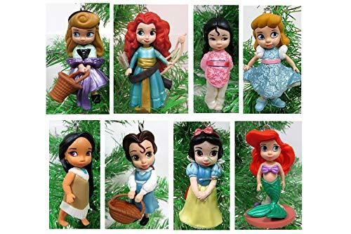 Disney Baby Animator Princess 8 Piece Christmas Tree Ornament Set Featuring Pocahontas, Cinderella, Snow White, Aurora, Mulan, Belle, Merida, Ariel, Snow White