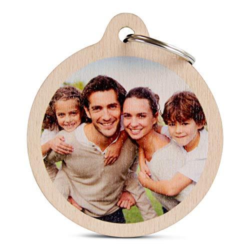 Wogenfels - Holz Schlüsselanhänger rund mit Foto   Das Geburtstags-Geschenk mit individueller Druck für Frauen und Männer   Personalisierter Schmuck