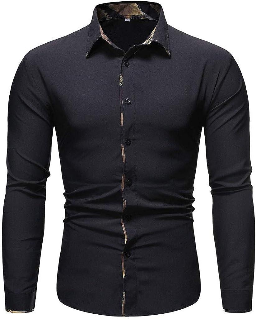 Men's Button Down Shirt Long Sleeve Slim Fit Casual Solid Dress Shirt Tops