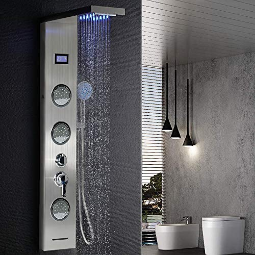 Edelstahl Duschpaneel Duschsäule Regendusche Dusche Badarmatur Duscharmatur (LED Edelstahl, B)
