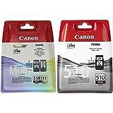 Canon PG-510+CL-511 Cartuchos de tinta BK+Tricolor para Impresora de Inyeccion + PG-510 Cartucho de tinta original Negro para Impresora