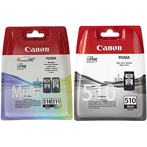 Canon Pg-510/Cl-511 Cartuccia Originale Getto D'Inchiostro Multipack 9 Ml, Nero, Multicolor & Pg-510 Cartuccia Originale Getto D'Inchiostro, Nero, 1 Unit