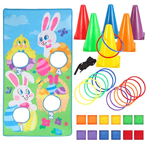 Easter Toss Game Set with 12 Bean Bags, 12 Toss Rings, 6 Tossing Cones, and Easter Bunny Toss Banner for Kids Easter Indoor Outdoor Game Play, Family School Class Yard Lawn Easter Party Supplies