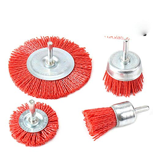Nylon Cup Brush Abrasive Wire Wheel Brush for Drill Rotary Tool Wood Polishing Deburring 6mm Shank with 80-240Grit,set1
