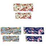 3 Pack Mom and Me Turban Headband Baby Girls Twisted Headwrap Hairband Floral BowKnot Elastic Hair Bow (3 Color pack - A)