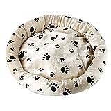 Balacoo rundes Haustierbett Pfotenmuster warmes Plüsch Haustierkissen Winterschlafbett für kleine Hundekatze (beige) -