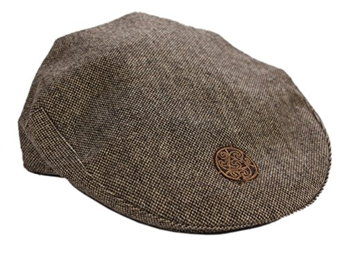 Children's Flat Cap Brown Tweed Celtic Emblem Large