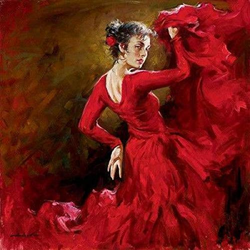 KDLLK Pintura al óleo sobre Lienzo Pintada a Mano, Bailarina de Flamenco española, Figura de Bailarina carmesí, Pintura, Trabajo artístico