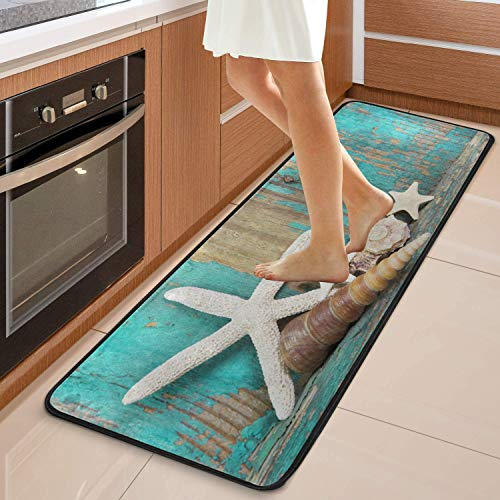 Beach Rug Runner 2x6 for Kitchen Bathroom, Long Floor Rugs Mats for Bedroom Living Room Hallway No Slip, Rustic Ocean Starfish Seashells Turquoise