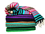 Spirit Quest Supplies Bodhi Blanket Mexican Style Blanket - Falsa Throw Blanket for Yoga, Picnics, Beach, Tapestry, Camping, & More