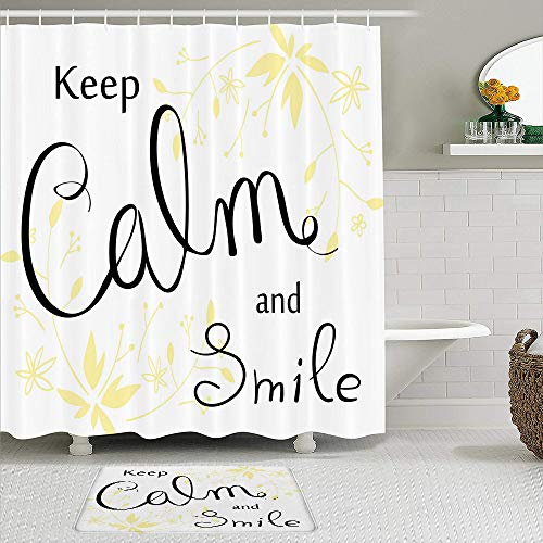 JISMUCI Shower curtain,Positive Cursive Smile Quote with Pastel Tone Floral Ornaments,2pcs set with hooks waterproof polyester fabric bathroom decor 71 In