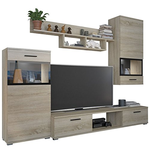 Wohnwand Blues, Modernes Anbauwand inkl. TV Lowboard, 2 Vitrine, Wandregal, Design Mediawand (Sonoma Eiche, mit Beleuchtung)