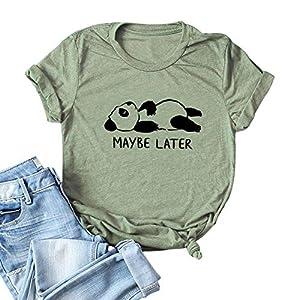 Womens Cute Funny Animal Panda Maybe Later Print Short Sleeve Graphic Tees T-Shirts Tops (Run 3 Size Small)
