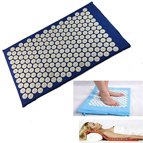 I FOR Relieve Back & Body Pain Spike Mat, Massager Pads, Acupuncture Massage Mat with Pillow, Massage Pads Rug, Acupuncture Mat+Pillow Back Neck Stress/Relief Yoga Cushion, Blue