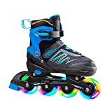 Hiboy Adjustable Inline Skates with All Light up Wheels, Outdoor & Indoor Illuminating Roller Skates for Boys, Girls, Beginners (Blue, Small-12J-2) …