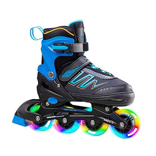 Hiboy verstellbare Inline-Skates mit Allen beleuchteten Rädern, beleuchteten Outdoor- und Indoor-Rollschuhen für Jungen, Mädchen, Anfänger,Blau,Medium 34-37