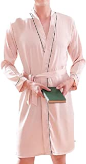 Howely Men V Neck Plus-Size Solid Trim-Fit Pajamas Charmeuse Sleep Robe