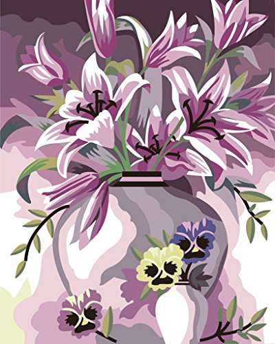 [New Release] DIY oil painting by Numbers, Paint by number Kits – elegant Lily Flower Girl 40,6 x 50,8 cm – Digital oil painting canvas Wall Art Artwork Landscape Paintings for home Living Room Office Christmas Decor Decorations Gifts – DIY Paint by Numbers DIY canvas kit for Adults Advanced Children Seniors Junior – New Arrival – no. D151