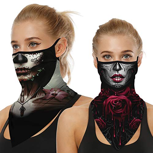 Ainuno Skull Mask with Ear Loops Funny Halloween Mask for Women Sexy Sugar Skull Printed Skeleton Mask Neck Gaiter Face Bandana Mask Face Cover Scarf Wrap Sugar Skull,Sexy Skull Mask Funny Costume